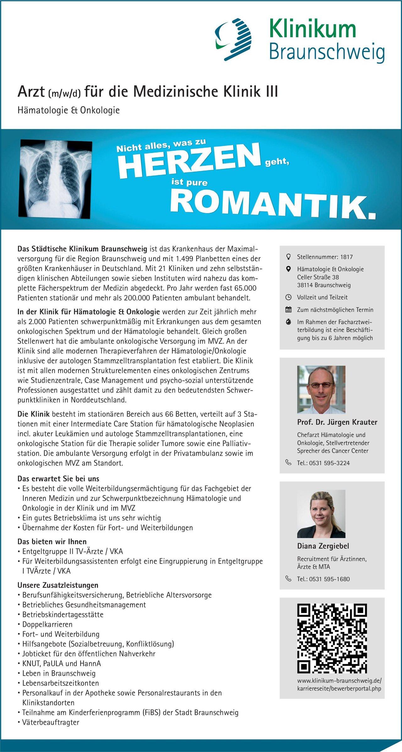 Städtisches Klinikum Braunschweig Arzt (m/w/d) für die Medizinische Klinik III Hämatologie & Onkologie  Innere Medizin und Hämatologie und Onkologie, Innere Medizin Arzt / Facharzt