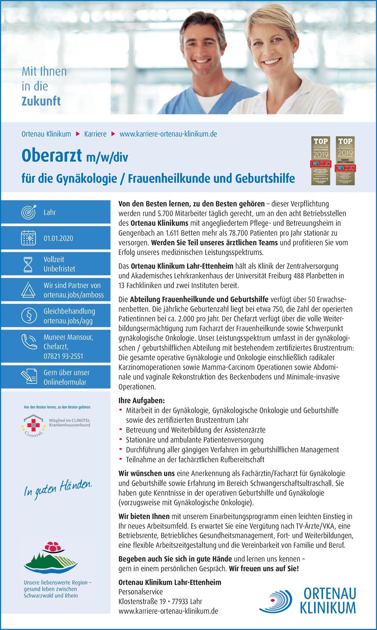 Ortenau Klinikum Lahr-Ettenheim Oberarzt m/w/div für die Gynäkologie / Frauenheilkunde und Geburtshilfe  Frauenheilkunde und Geburtshilfe, Frauenheilkunde und Geburtshilfe Oberarzt