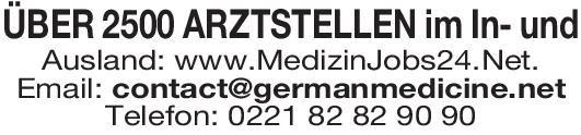 German Medicine Net ÜBER 2500 ARZTSTELLEN im In- und Ausland  Allgemeinchirurgie, Frauenheilkunde und Geburtshilfe, Gefäßchirurgie Arzt / Facharzt