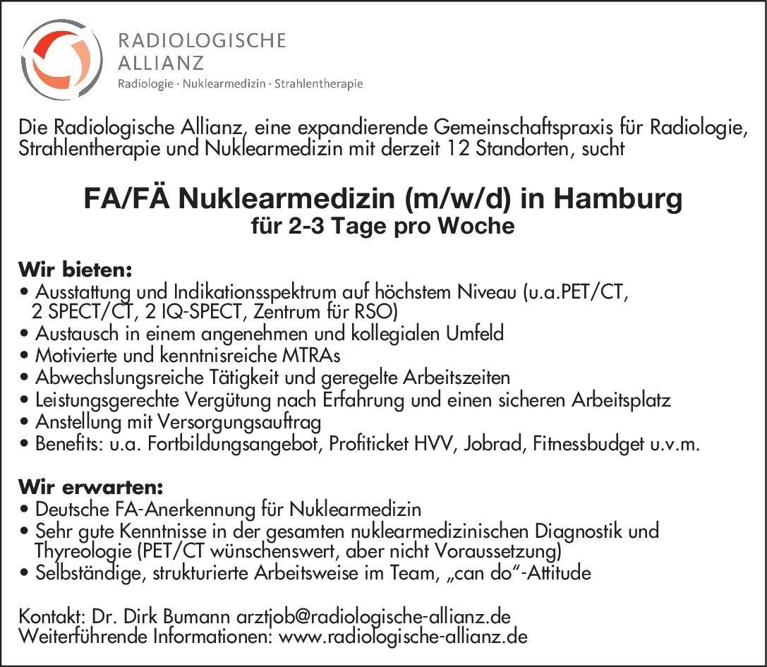Radiologische Allianz GbR Facharzt/Fachärztin für Nuklearmedizin (m/w/d) in Hamburg Nuklearmedizin Arzt / Facharzt