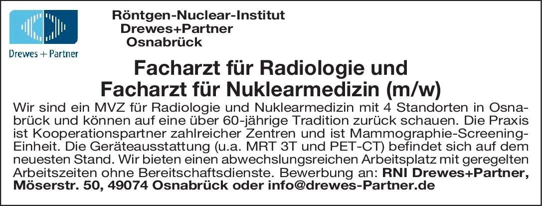 Röntgen-Nuclear-Institut,  Drewes + Partner Facharzt für Radiologie (m/w)  Radiologie, Radiologie Arzt / Facharzt