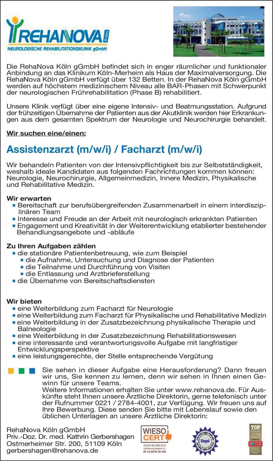 RehaNova Köln gGmbH Assistenzarzt (m/w/i) / Facharzt (m/w/i) Allgemeinmedizin, Anästhesiologie / Intensivmedizin, Innere Medizin Arzt / Facharzt, Assistenzarzt / Arzt in Weiterbildung