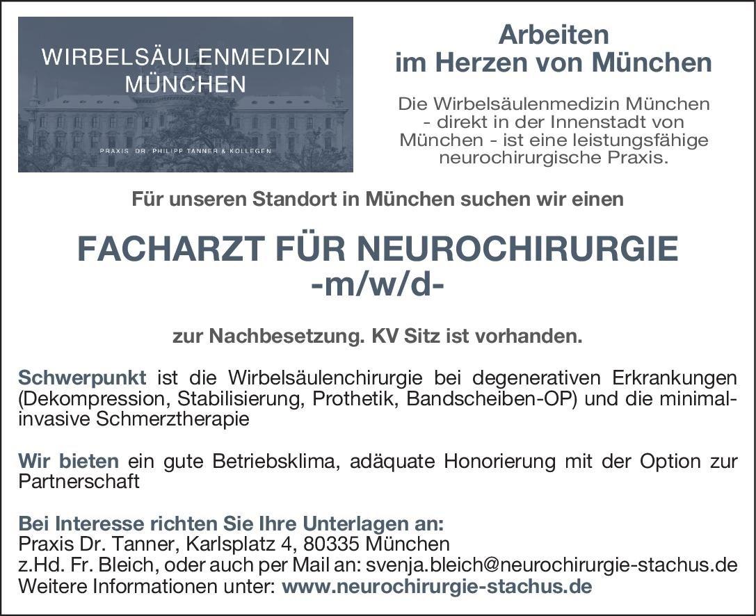 Praxis Dr. Tanner Facharzt für Neurochirurgie - m/w/d Neurochirurgie Arzt / Facharzt