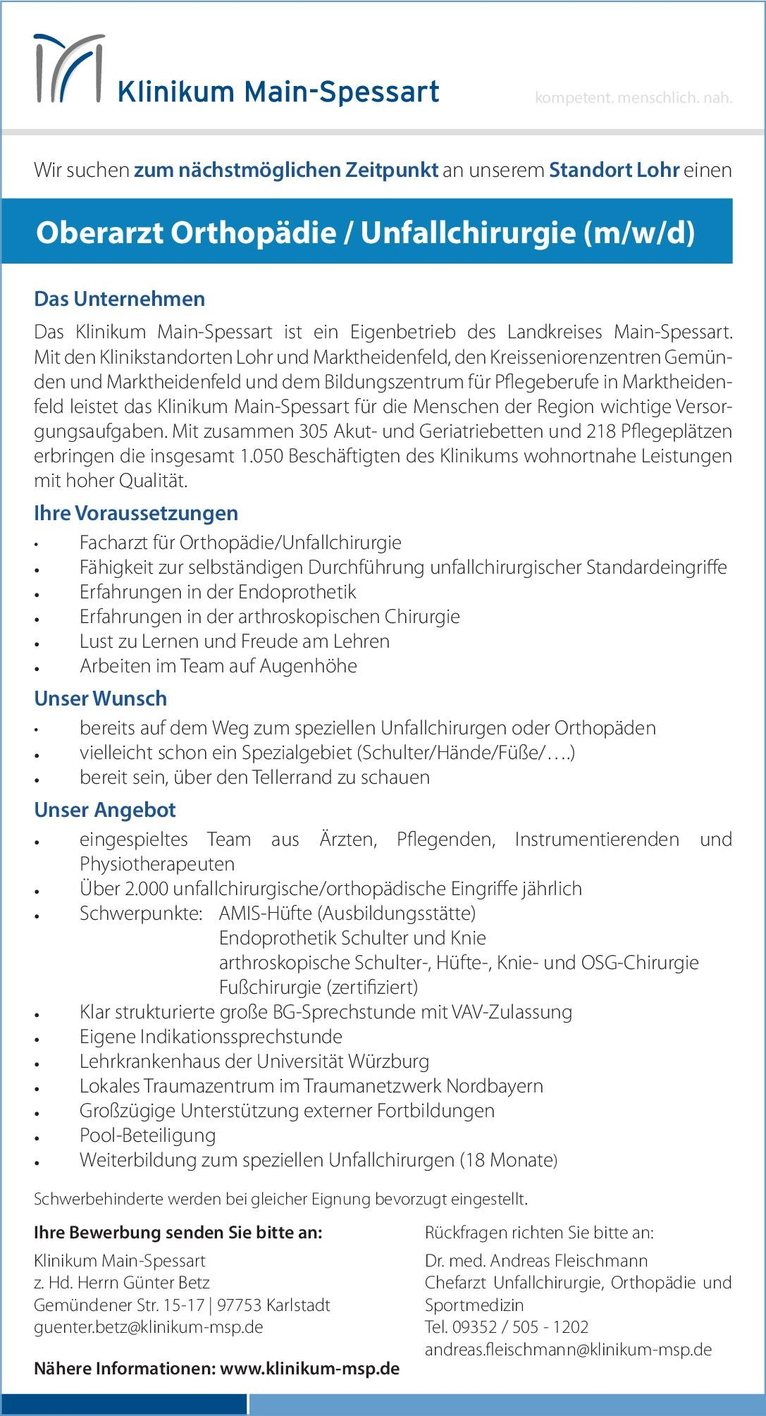 Klinikum Main-Spessart Oberarzt Orthopädie / Unfallchirurgie (w/m/d)  Orthopädie und Unfallchirurgie, Chirurgie Oberarzt
