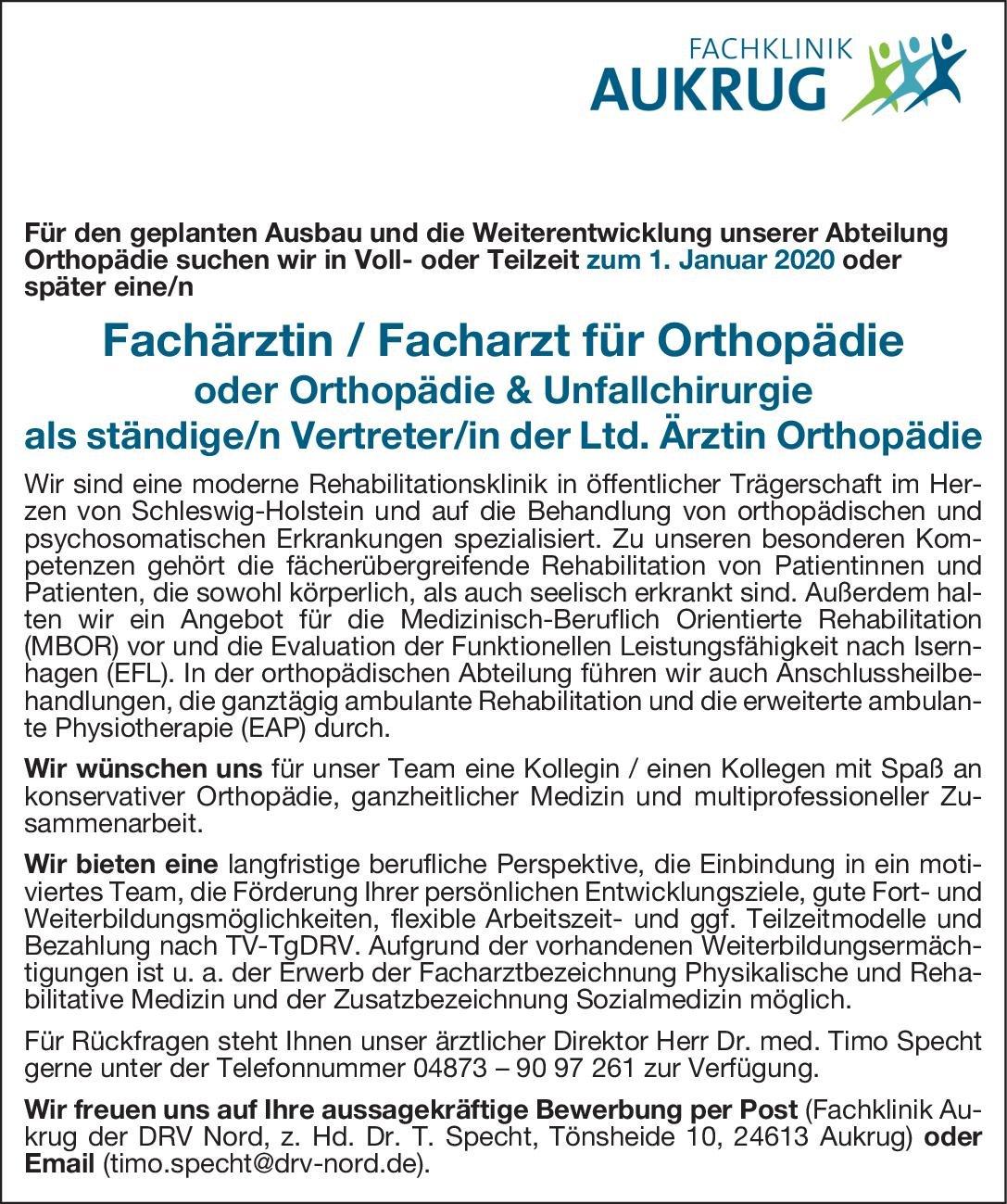 Fachklinik Aukrug der DRV Nord Fachärztin / Facharzt für Orthopädie oder Orthopädie & Unfallchirurgie  Orthopädie und Unfallchirurgie, Chirurgie Arzt / Facharzt
