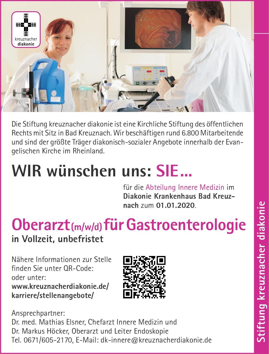Stiftung kreuznacher diakonie - Diakonie Krankenhaus Bad Kreuznach Oberarzt (m/w/d) für Gastroenterologie  Innere Medizin und Gastroenterologie, Innere Medizin Oberarzt