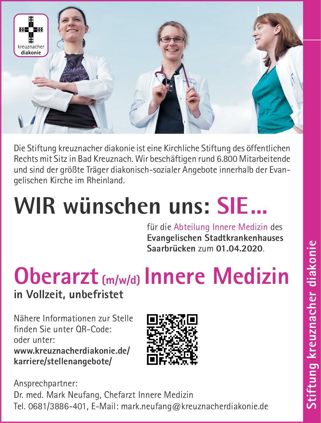 Stiftung kreuznacher diakonie - Evangelisches Stadtkrankenhauses Saarbrücken Oberarzt (m/w/d) Innere Medizin  Innere Medizin, Innere Medizin Oberarzt