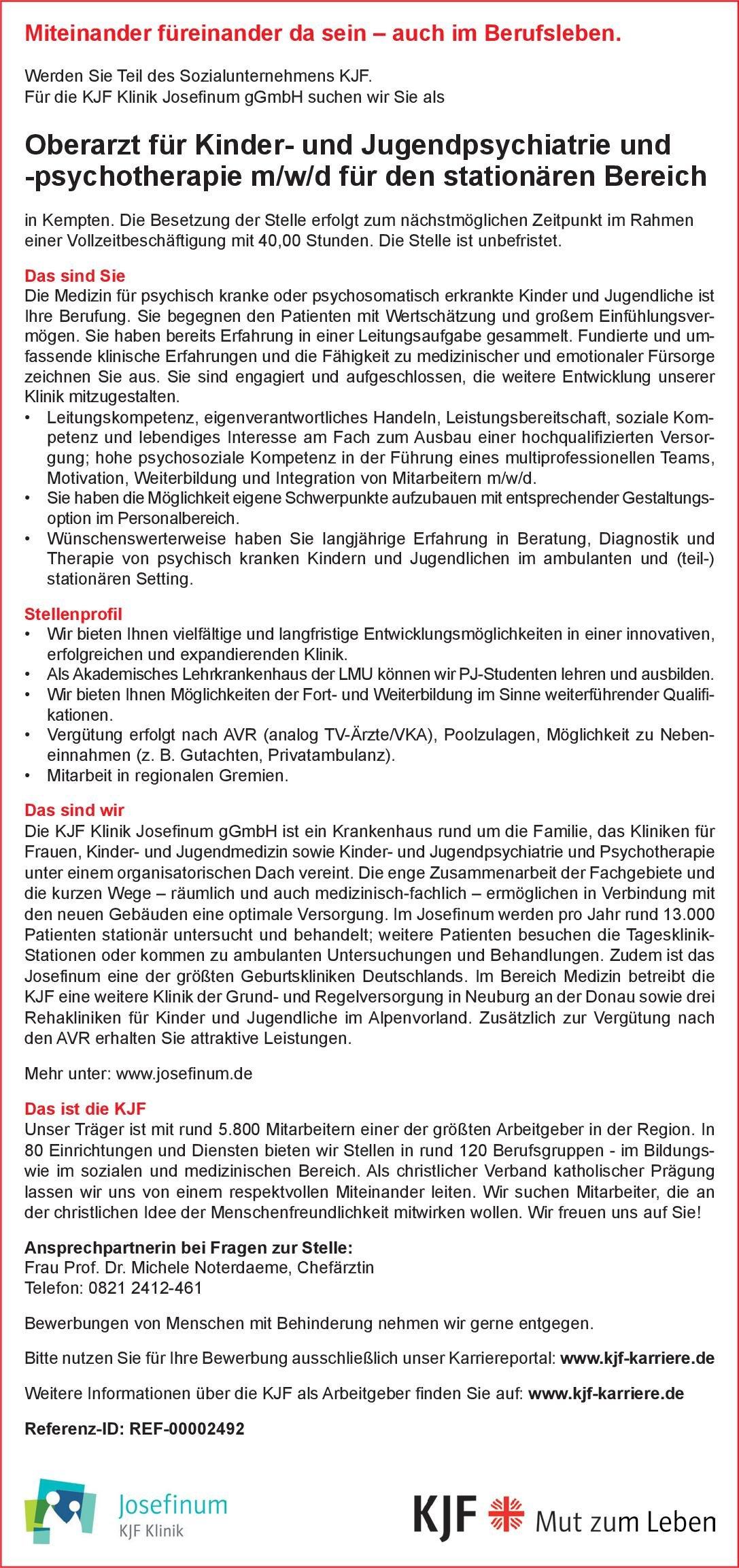 KJF Klinik Josefinum gGmbH Oberarzt für Kinder- und Jugendpsychiatrie und -psychotherapie m/w/d für den stationären Bereich Kinder- und Jugendpsychiatrie und -psychotherapie Oberarzt