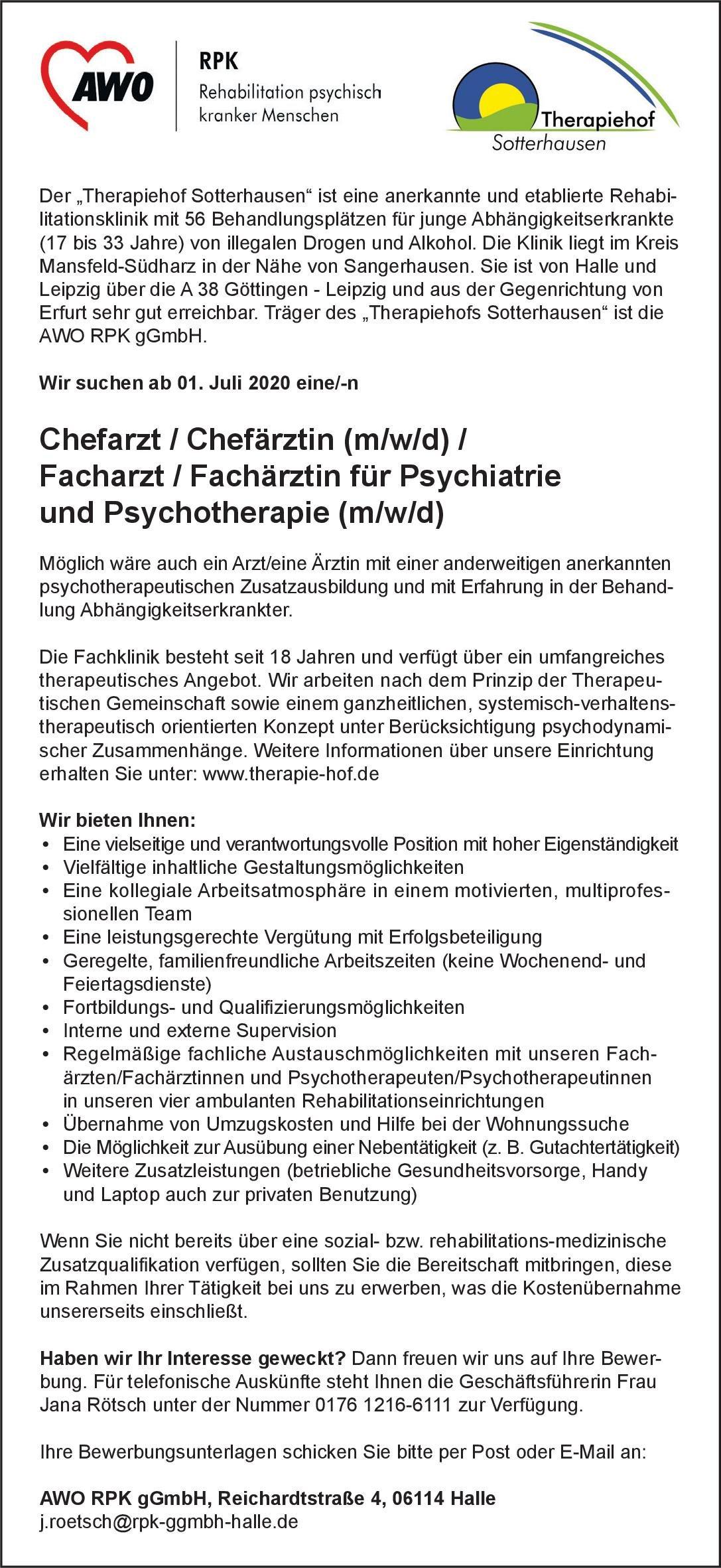 AWO RPK gGmbH Chefarzt /Chefärztin (m/w/d) /Facharzt / Fachärztin für Psychiatrie und Psychotherapie (m/w/d)  Psychiatrie und Psychotherapie, Psychiatrie und Psychotherapie Arzt / Facharzt, Chefarzt