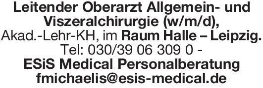 ESiS Medical Personalberatung Leitender Oberarzt Allgemein- und Viszeralchirurgie (w/m/d)  Allgemeinchirurgie, Viszeralchirurgie, Chirurgie Oberarzt