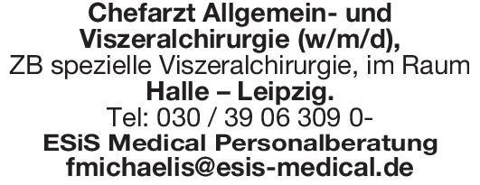 ESiS Medical Personalberatung Chefarzt Allgemein- und Viszeralchirurgie (w/m/d),  Allgemeinchirurgie, Viszeralchirurgie, Chirurgie Chefarzt