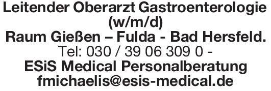 ESiS Medical Personalberatung Leitender Oberarzt Gastroenterologie (w/m/d)  Innere Medizin und Gastroenterologie, Innere Medizin Oberarzt