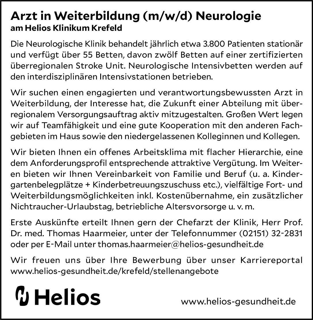 Helios Klinikum Krefeld Arzt in Weiterbildung (m/w/d) Neurologie Neurologie Assistenzarzt / Arzt in Weiterbildung
