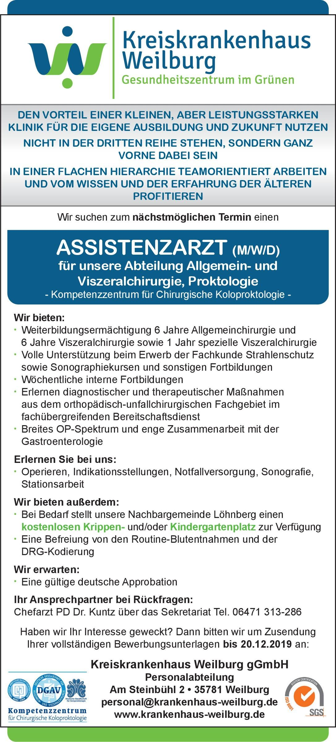 Kreiskrankenhaus Weilburg Assistenzarzt (m/w/d) für unsere Abteilung Allgemein- und Viszeralchirurgie, Proktologie  Allgemeinchirurgie, Viszeralchirurgie Assistenzarzt / Arzt in Weiterbildung