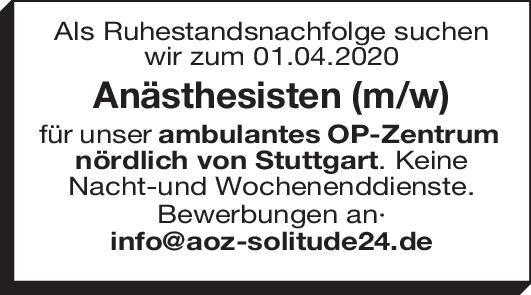Ambulantes OP Zentrum Anästhesisten (m/w) Anästhesiologie / Intensivmedizin Arzt / Facharzt