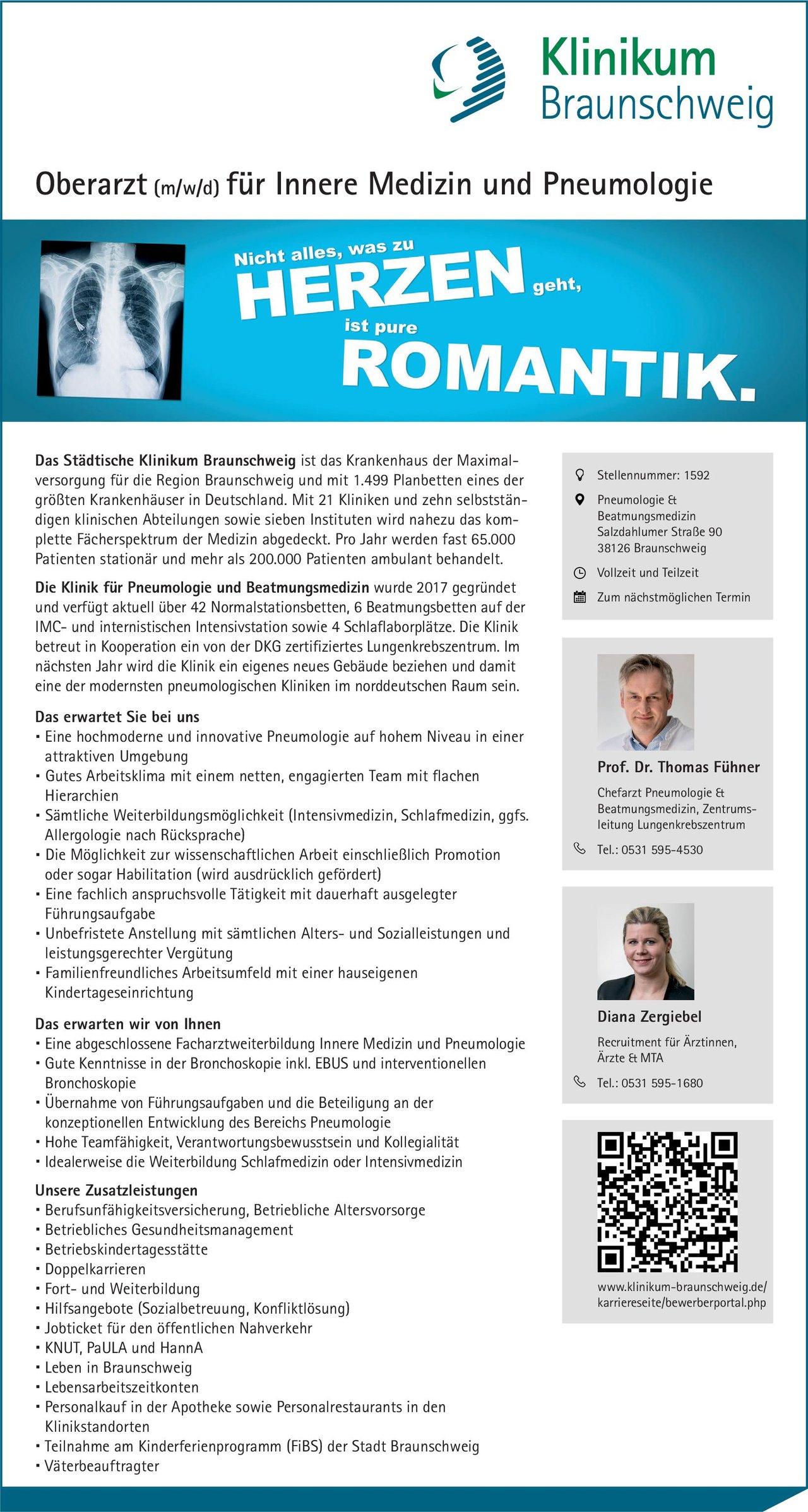 Städtisches Klinikum Braunschweig Oberarzt (m/w/d) für Innere Medizin und Pneumologie  Innere Medizin und Pneumologie, Innere Medizin Oberarzt
