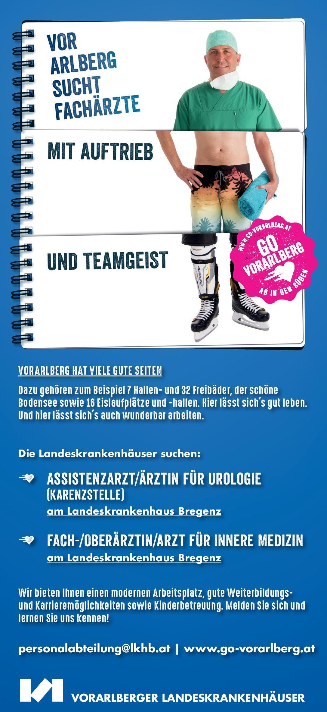 Landeskrankenhaus Bregenz Assistenzarzt/ärztin für Urologie (Karenzstelle) Urologie Assistenzarzt / Arzt in Weiterbildung