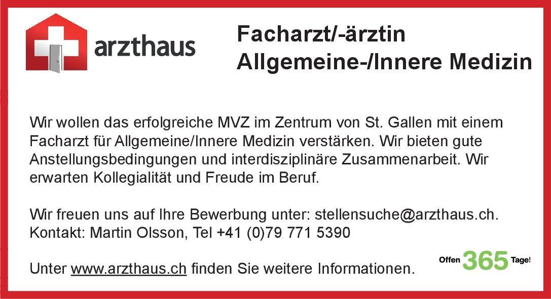 arzthaus.ch Facharzt/-ärztin Allgemeine-/Innere Medizin  Innere Medizin, Innere Medizin Arzt / Facharzt