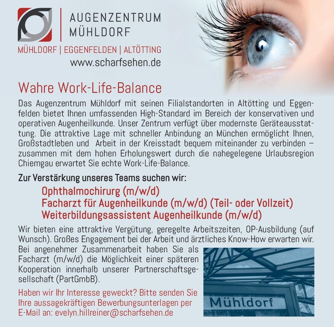 Augenzentrum Mühldorf Facharzt für Augenheilkunde (m/w/d) Augenheilkunde Arzt / Facharzt