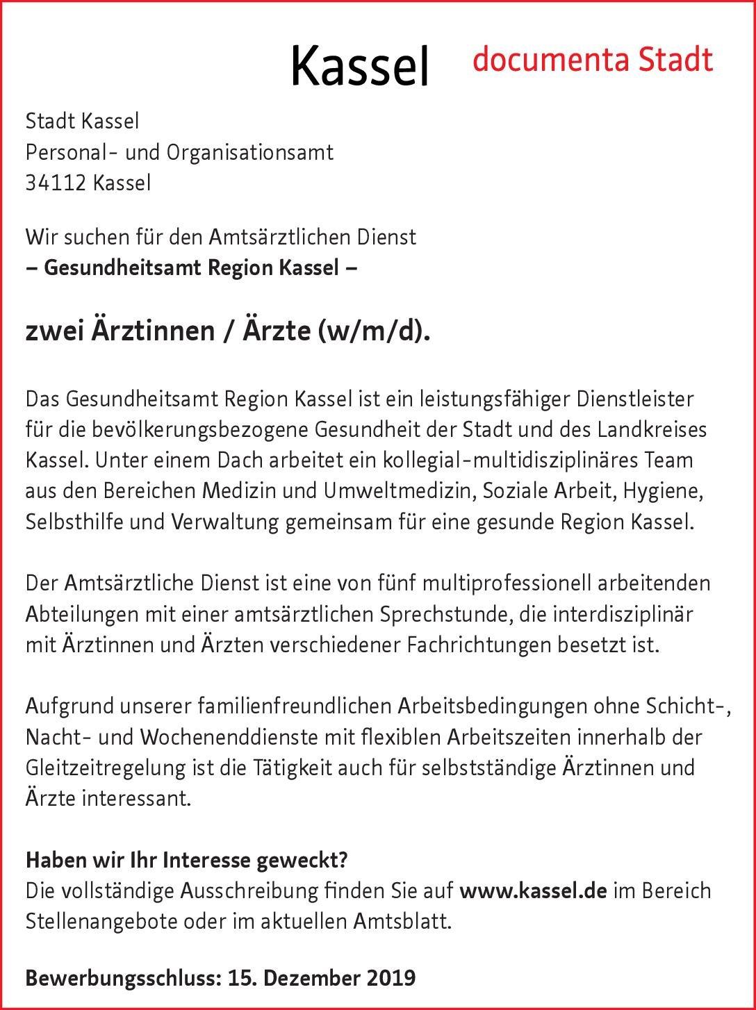 Stadt Kassel Zwei Ärztinnen / Ärzte (w/m/d) * ohne Gebiete Arzt / Facharzt