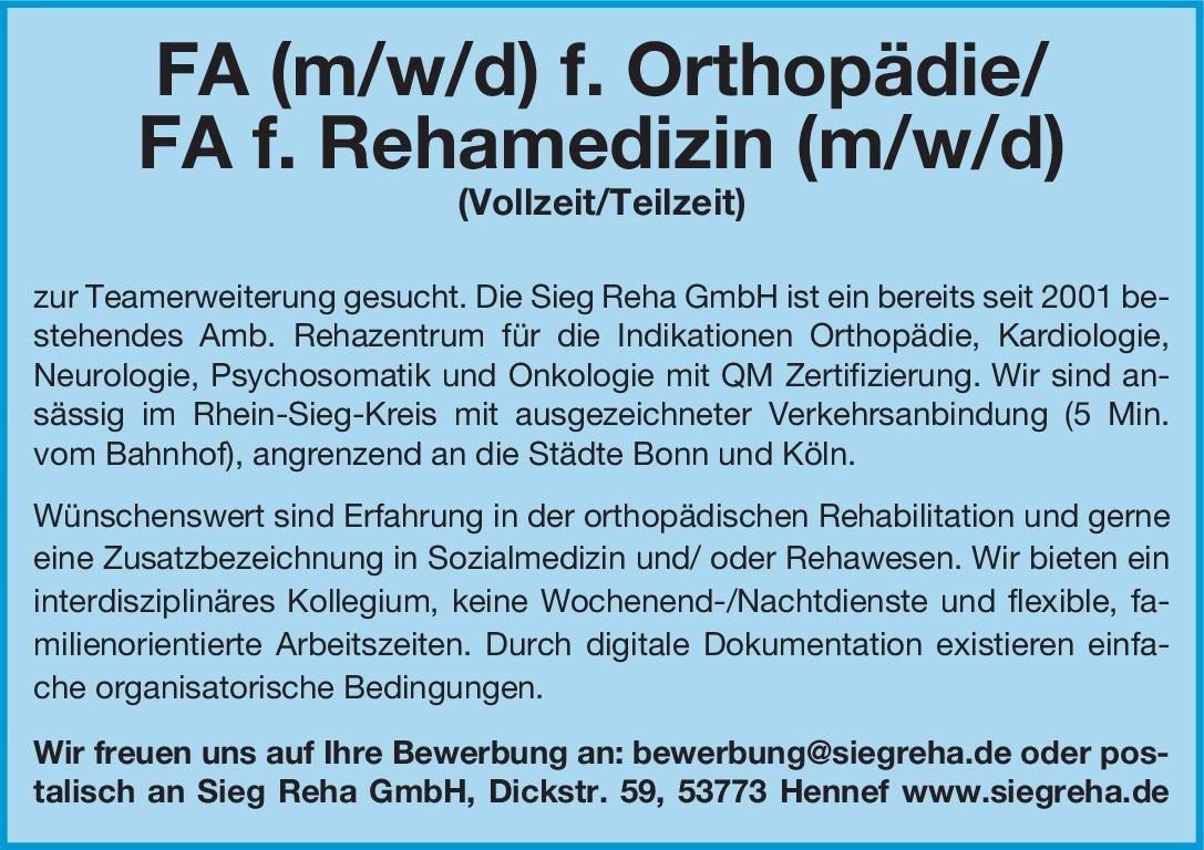 Sieg Reha GmbH FA f. Rehamedizin (m/w/d) Physikalische- und Rehabilitative Medizin Arzt / Facharzt