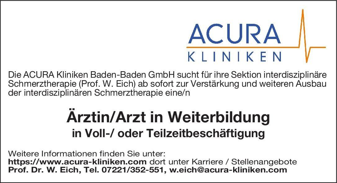 ACURA Kliniken Ärztin/Arzt in Weiterbildung Palliativmedizin Arzt / Facharzt