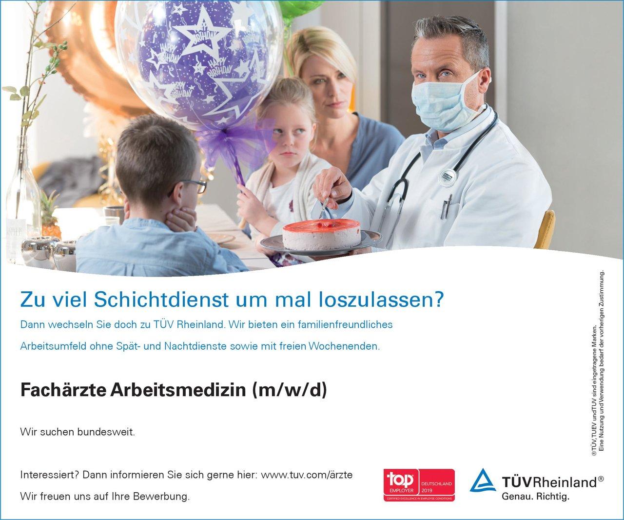 TÜV Rheinland Fachärzte Arbeitsmedizin (m/w/d) Arbeitsmedizin Arzt / Facharzt