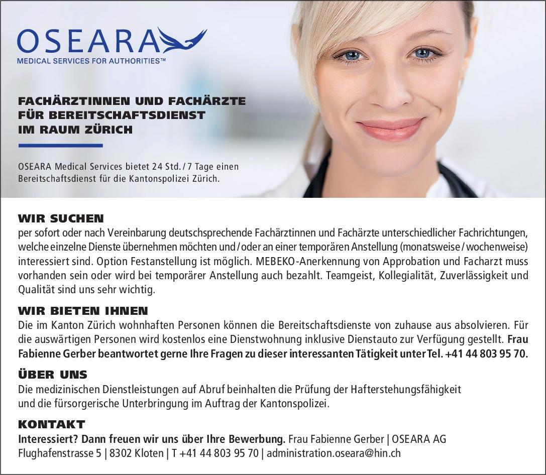OSEARA Medical Services Fachärztinnen und Fachärzte für Bereitschaftsdienst * ohne Gebiete Arzt / Facharzt