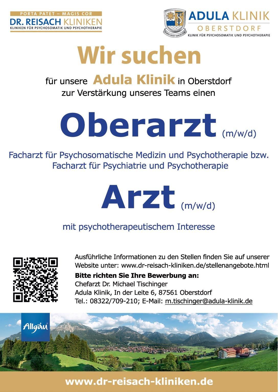 Adula Klinik Oberarzt (m/w/d) Facharzt für Psychosomatische Medizin und Psychotherapie bzw. Facharzt für Psychiatrie und Psychotherapie  Psychiatrie und Psychotherapie, Psychiatrie und Psychotherapie, Psychosomatische Medizin und Psychotherapie Arzt / Facharzt, Oberarzt