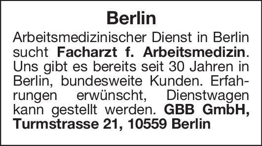 GBB GmbH Facharzt f. Arbeitsmedizin Arbeitsmedizin Arzt / Facharzt