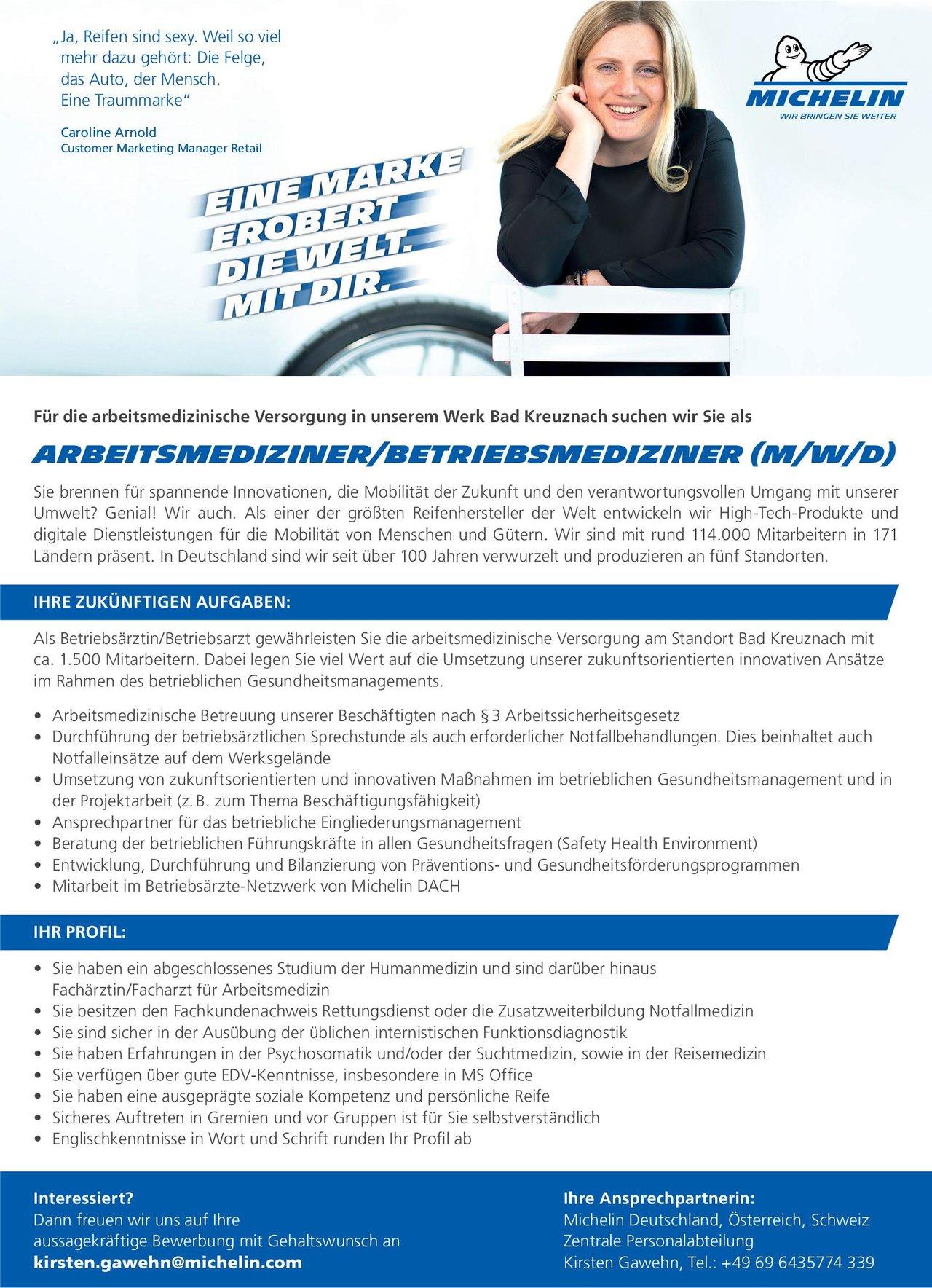 Michelin Deutschland Arbeitsmediziner / Betriebsmediziner Arbeitsmedizin Arzt / Facharzt, Betriebsarzt