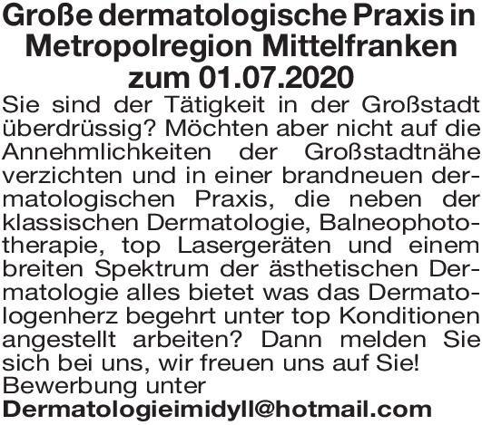 Praxis Facharzt/ Fachärztin Dermatologie, Balneophototherapie Haut- und Geschlechtskrankheiten Arzt / Facharzt