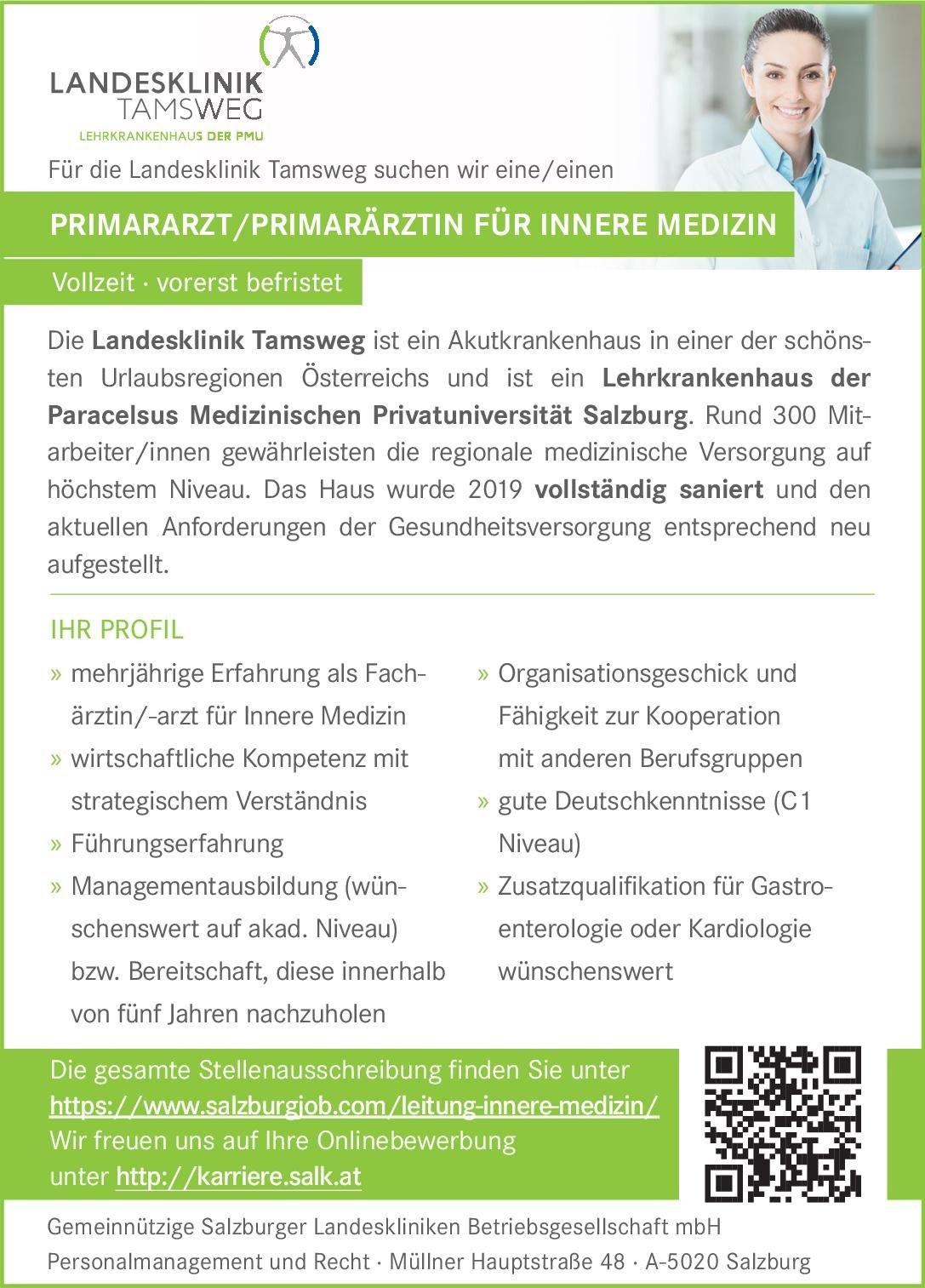 Landesklinik Tamsweg Primararzt / Primarärztin für Innere Medizin  Innere Medizin, Innere Medizin Arzt / Facharzt