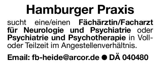 Praxis Fachärztin/Facharztfür Neurologie und Psychiatrie oder Psychiatrie und Psychotherapie  Psychiatrie und Psychotherapie, Neurologie, Psychiatrie und Psychotherapie Arzt / Facharzt