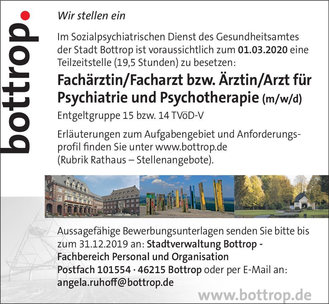 Stadtverwaltung Bottrop Fachärztin/Facharzt bzw. Ärztin/Arzt für Psychiatrie und Psychotherapie (m/w/d)  Psychiatrie und Psychotherapie, Psychiatrie und Psychotherapie Arzt / Facharzt