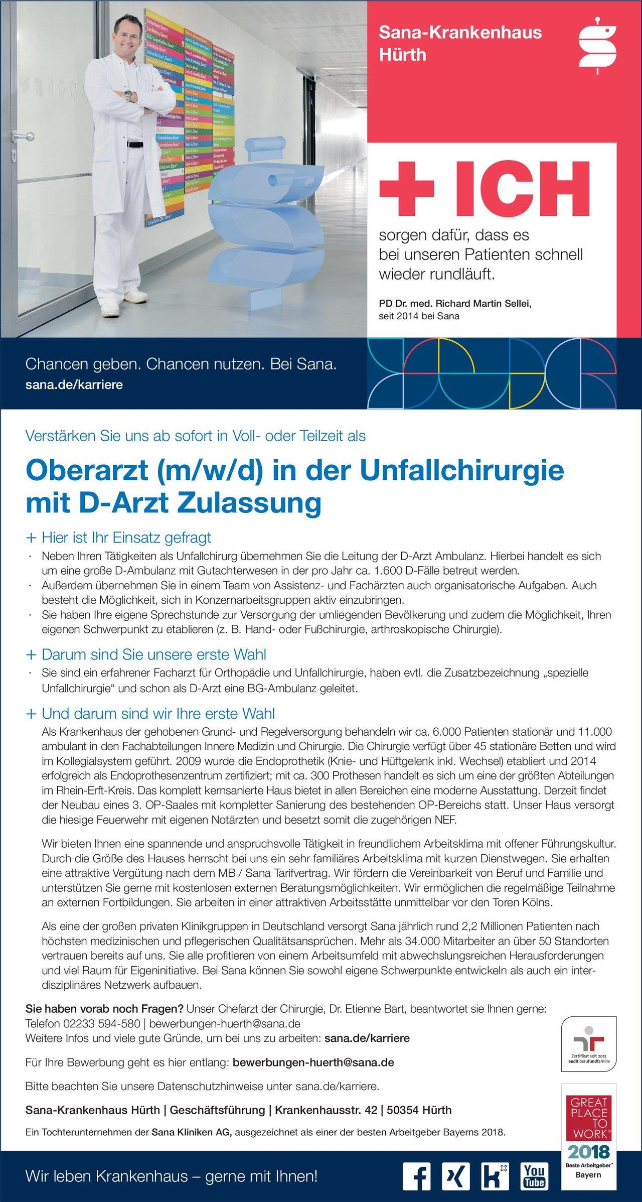 Sana-Krankenhaus Hürth Oberarzt (m/w/d) in der Unfallchirurgie mit D-Arzt Zulassung  Orthopädie und Unfallchirurgie, Chirurgie Oberarzt