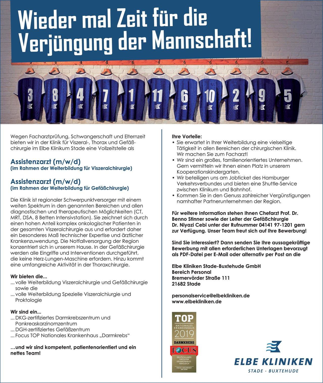 Elbe Kliniken Stade-Buxtehude GmbH Assistenzarzt (m/w/d) (im Rahmen der Weiterbildung für Viszeralchirurgie)  Viszeralchirurgie, Chirurgie Assistenzarzt / Arzt in Weiterbildung