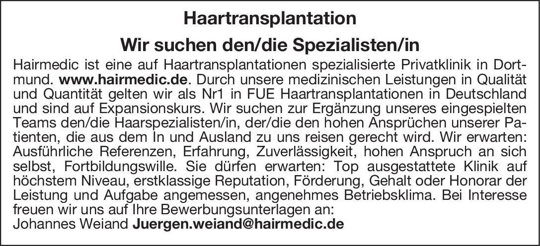 Privatklinik Hairmedic Haartransplantation Spezialisten/in  Plastische und ästhetische Chirurgie, * andere Gebiete, Chirurgie Arzt / Facharzt