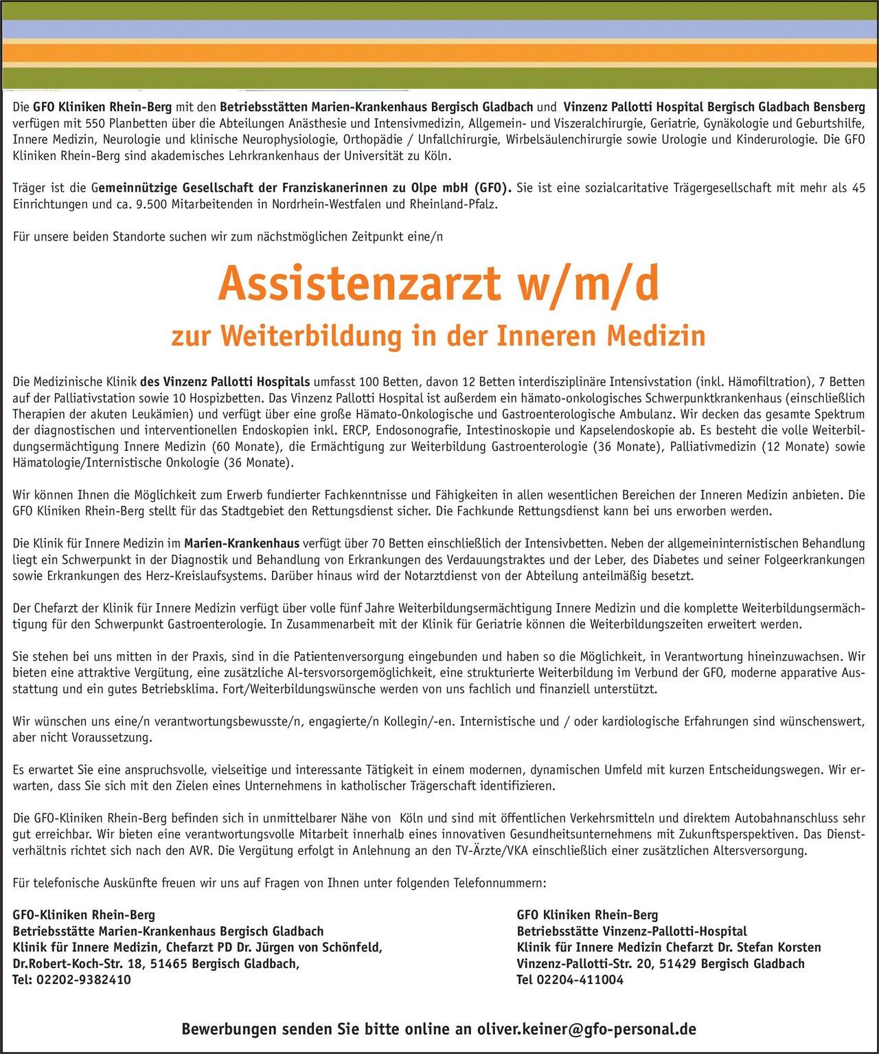 GFO Kliniken Rhein-Berg - Vinzenz Pallotti Hospital Bergisch Gladbach Bensberg Assistenzarzt w/m/d zur Weiterbildung in der Inneren Medizin  Innere Medizin, Innere Medizin Assistenzarzt / Arzt in Weiterbildung