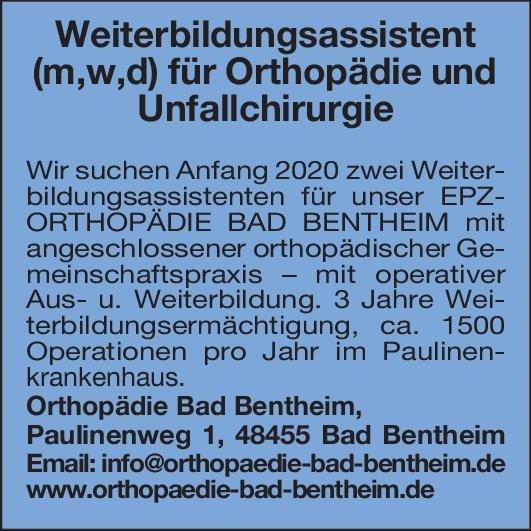 Orthopädie Bad Bentheim Weiterbildungsassistent (m,w,d) für Orthopädie und Unfallchirurgie  Orthopädie und Unfallchirurgie, Chirurgie Assistenzarzt / Arzt in Weiterbildung
