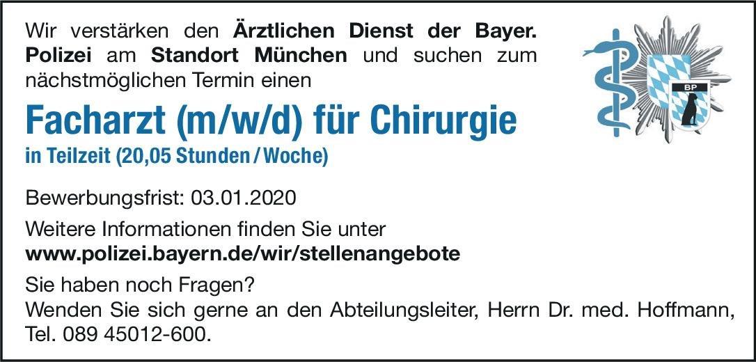 Bayerische Polizei Facharzt (m/w/d) für Chirurgie  Allgemeinchirurgie, Chirurgie Arzt / Facharzt