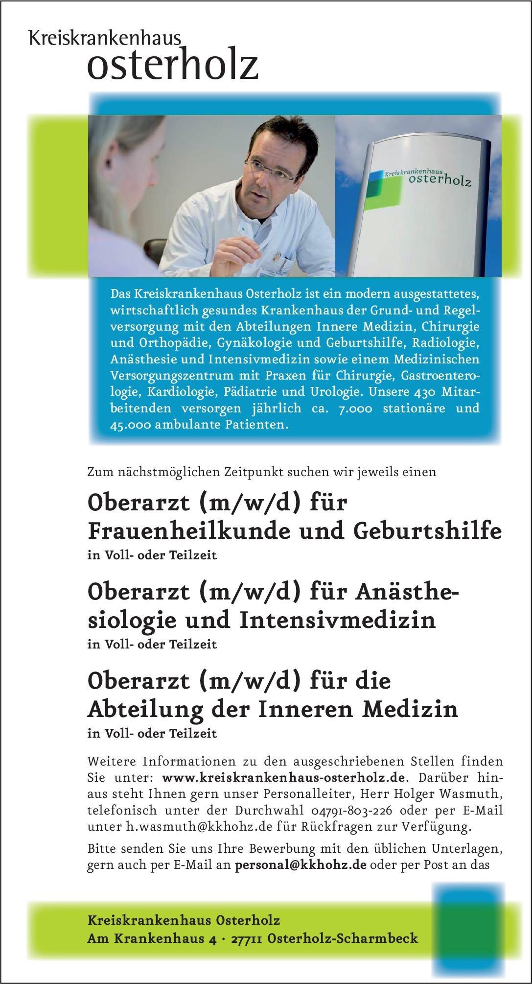 Kreiskrankenhaus Osterholz Oberarzt (m/w/d) für Anästhesiologie und Intensivmedizin Anästhesiologie / Intensivmedizin Oberarzt