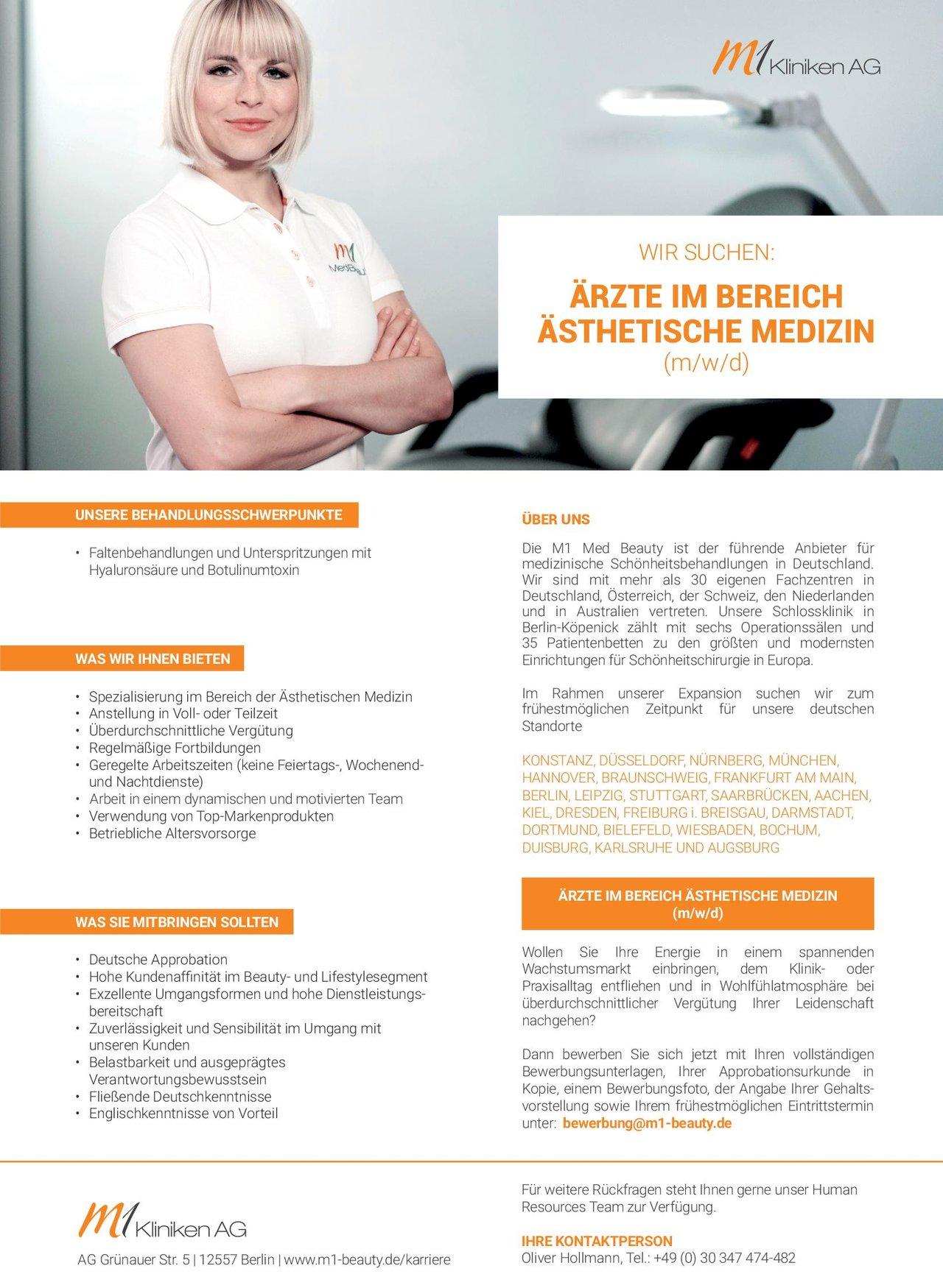 M1 Kliniken AG Ärzte im Bereich Ästhetische Medizin (m/w/d)  Plastische und ästhetische Chirurgie, * andere Gebiete, Chirurgie Arzt / Facharzt