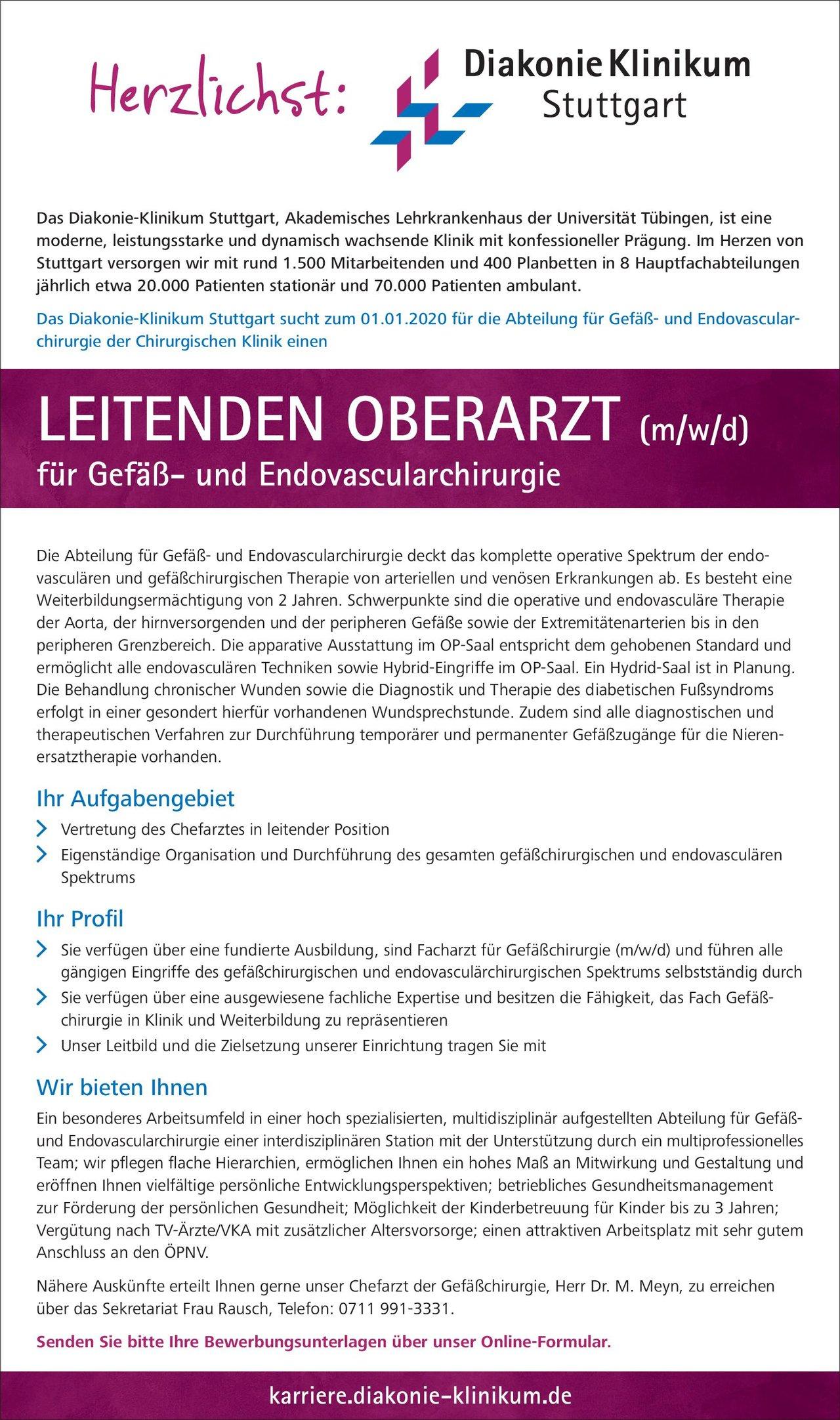 Diakonie Klinikum Stuttgart Leitender Oberarzt (m/w/d) für Gefäß- und Endovascularchirurgie  Gefäßchirurgie, Chirurgie Oberarzt