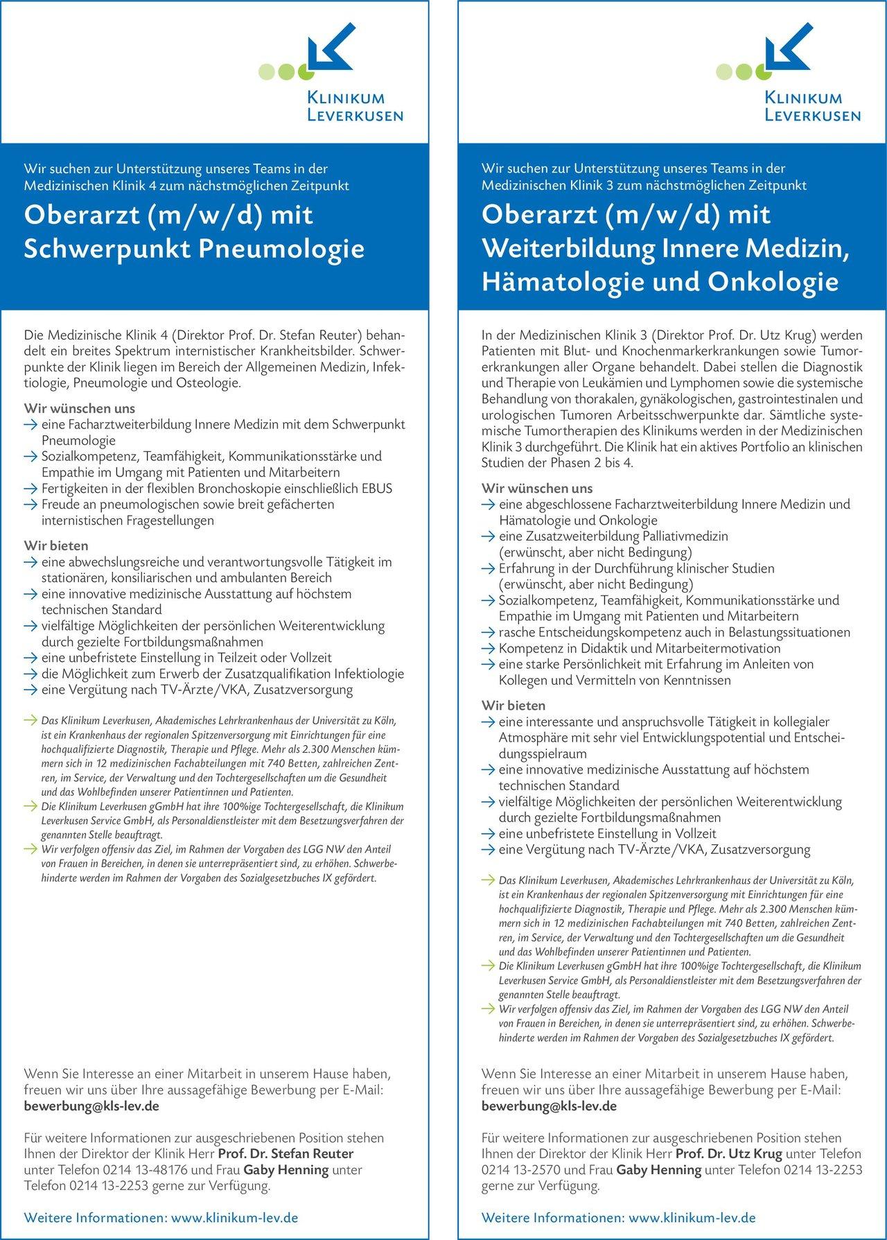 Klinikum Leverkusen Oberarzt (m/w/d) mit Weiterbildung Innere Medizin, Hämatologie und Onkologie  Innere Medizin und Hämatologie und Onkologie, Innere Medizin Oberarzt