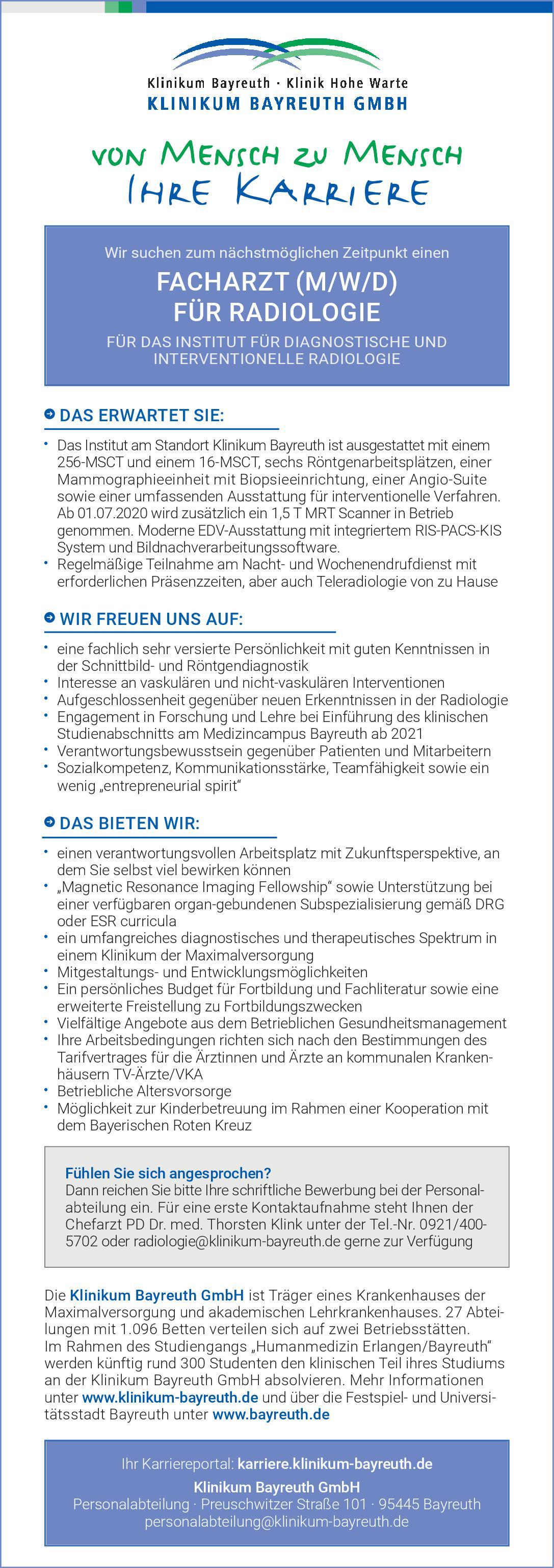 Klinikum Bayreuth GmbH Facharzt (m/w/d) für Radiologie  Radiologie Arzt / Facharzt