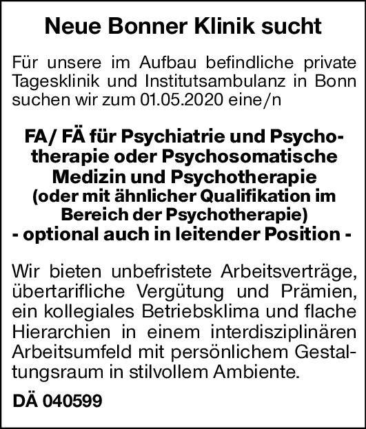 Klinik Fachärzte/Fachärztinnen Psychiatrie u. Psychotherapie Psychiatrie und Psychotherapie, Psychosomatische Medizin und Psychotherapie Arzt / Facharzt