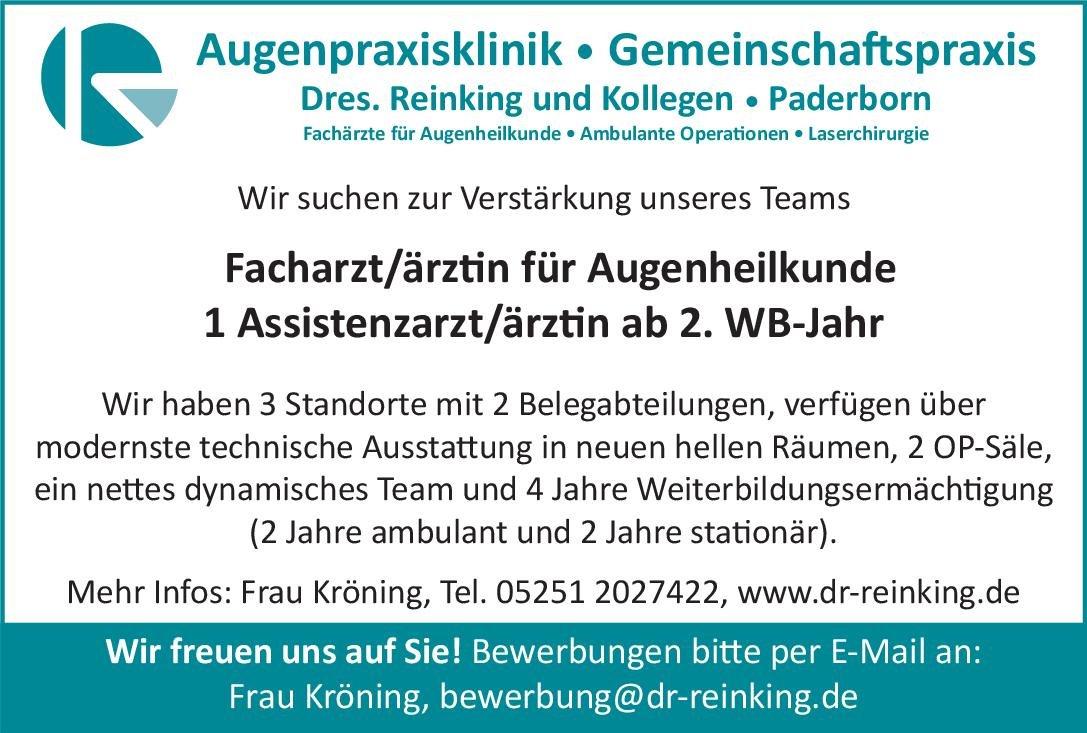 Dres. Reinking und Kollegen 1 Assistenzarzt/ärztin ab 2. WB-Jahr Augenheilkunde Assistenzarzt / Arzt in Weiterbildung