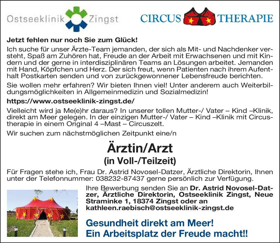 Ostseeklinik Zingst Ärztin/Arzt  Kinder- und Jugendmedizin, * andere Gebiete, Allgemeinmedizin Arzt / Facharzt