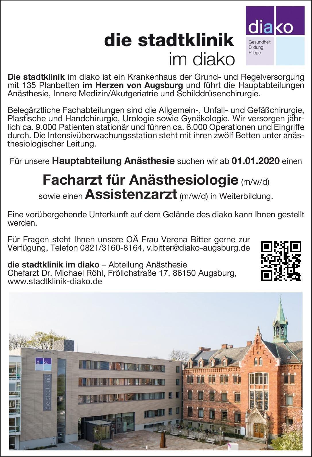 die stadtklinik im diako Facharzt für Anästhesiologie (m/w/d) Anästhesiologie / Intensivmedizin Arzt / Facharzt